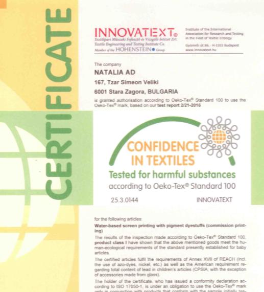 OekoTex-sertificate